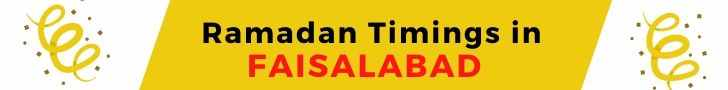 Ramadan Timings in FAISALABAD