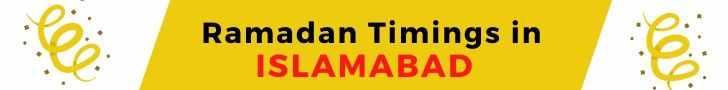 Ramadan Timings in ISLAMABAD